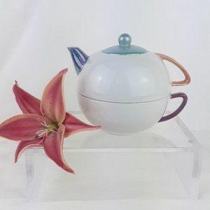 Pottery Barn Hiraki Porcelain Tea Pot with Cup